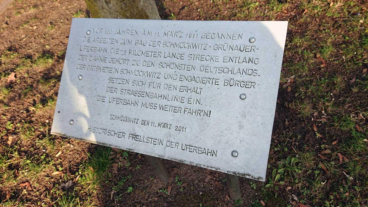 Historischer Prellstein der Schmöckwitz-Grünauer Uferbahn in Schmöckwitz