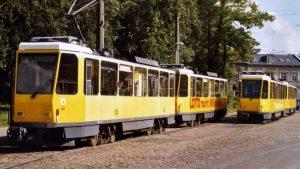 Uferbahn Tatrawagenzug an der Endhaltestelle Schmöckwitz, 1995