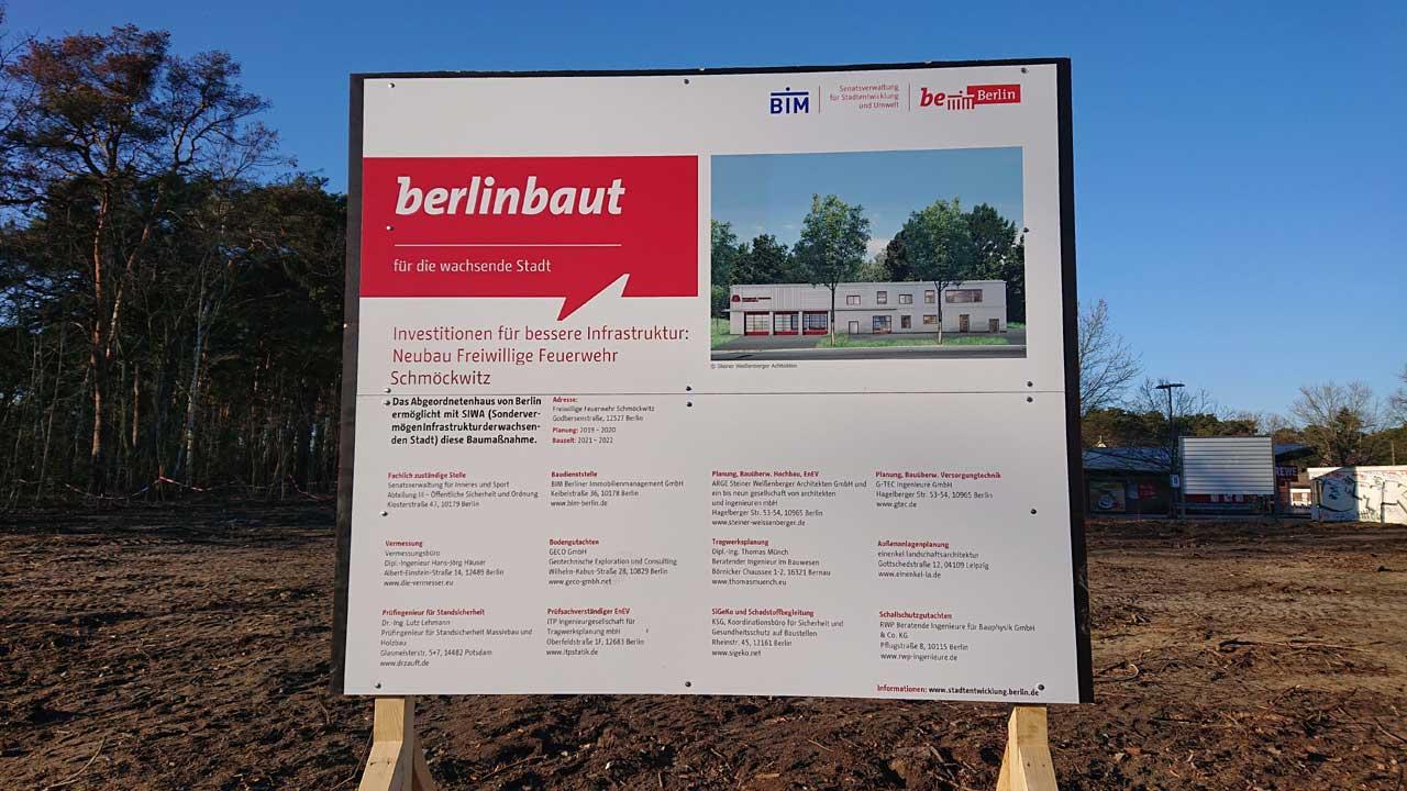 Investition für bessere Infrastruktur - Neubau Feuerwache Schmöckwitz